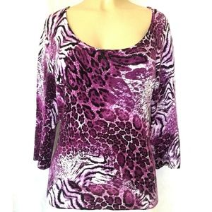 Alberto Makali Top Blouse Knit Animal Print Purple